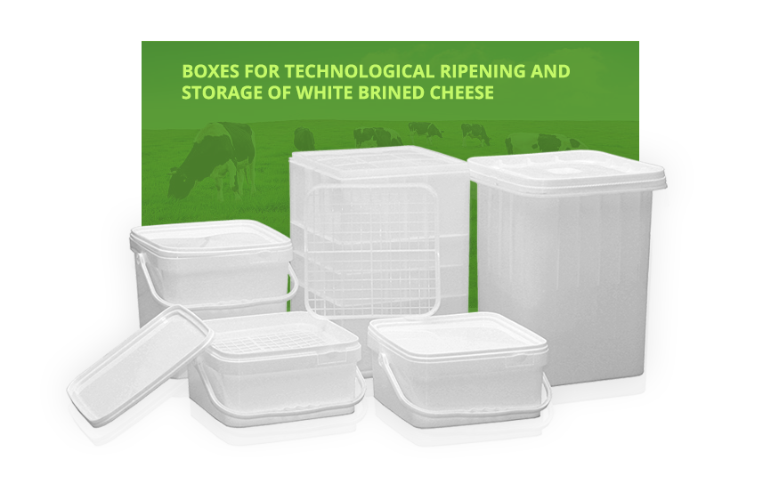 Boxes for technological ripening and storage of white brined cheese